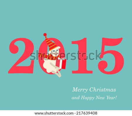 2015 New Year vector illustration with cute sheep