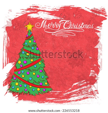2015 New year vintage invitation. Vector grunge retro red background Christmas tree for your design. Suitable for various designs, invitation, thank you card and scrapbooking. Vector 10 EPS - stock vector