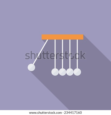Newton's cradle flat icon. Modern flat icons with long shadow effect in stylish colors. Icons for Web and Mobile Application. EPS 10. - stock vector