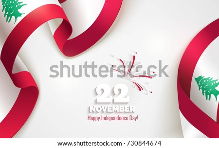 22 November. Lebanon Independence Day background in national flag color theme. Celebration banner  with waving flags and firework. Vector illustration