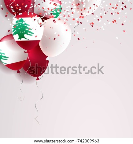 22 November. Lebanon Independence Day greeting card.   Celebration abstract background with balloons and confetti. Vector illustration