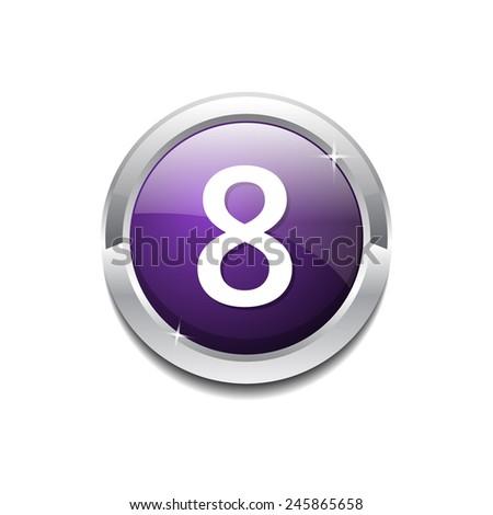 8 Number Circular Vector Purple Web Icon Button - stock vector