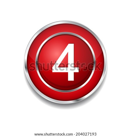4 Number Circular Vector Red Web Icon Button