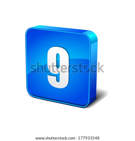 9 Number 3d Rounded Corner Blue Vector Icon Button