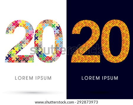 20 Number, Font, designed using Jigsaw puzzle pattern, graphic vector.