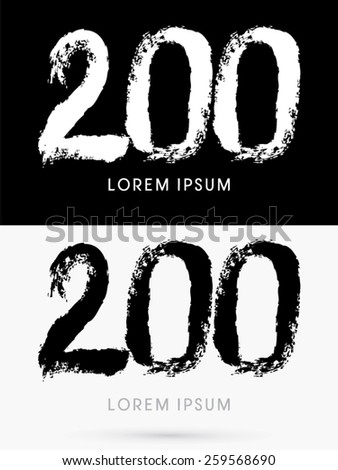 200 Number Grunge Brush Freestyle Font Designed Using Black And White Handwriting Line