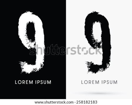 9 Number Grunge Brush Freestyle Font Designed Using Black And White Handwriting Line