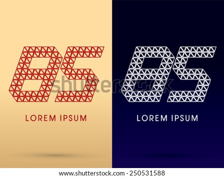 85 ,Number,Luxury font ,designed using red and silver triangle geometric shape on gold and dark blue background, concept shape from, jewelry, diamond ,gems ,logo, symbol, icon, graphic, vector.