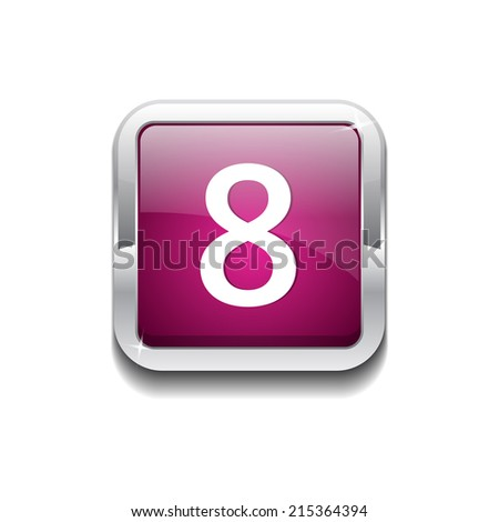 8 Number Rounded Rectangular Vector Pink Web Icon Button - stock vector