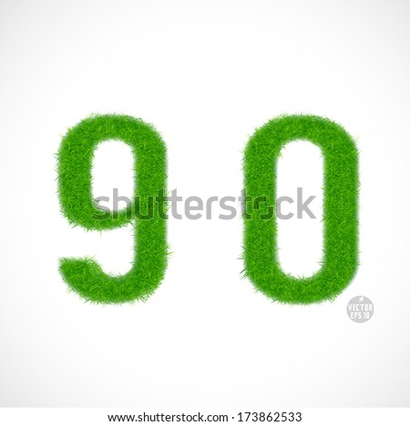 9, 0 number with grass textured isolated white background, vector illustration