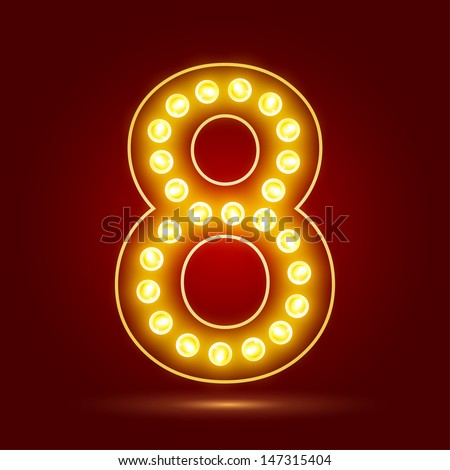 Number 8 with realistic lamp, vector illustration. can be used for christmas / happy birthday / happy new year and more.