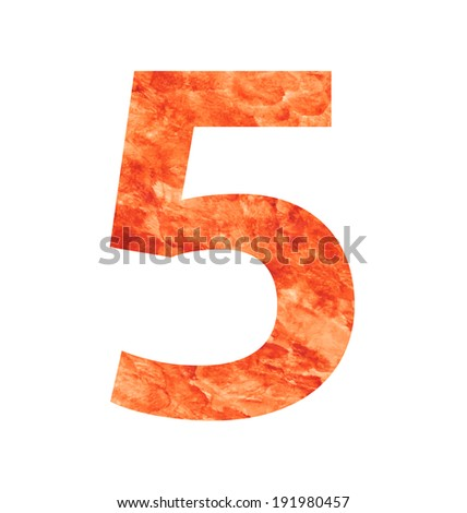 5 number with texura shaped brown earth or stone