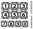 0-9 numbers set isolated on black and white  square. - stock