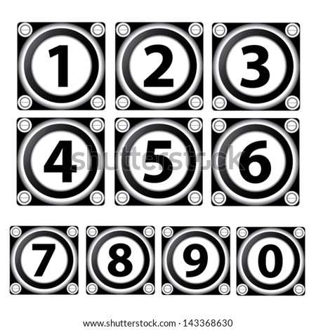 0-9 numbers set isolated on black and white  square. - stock vector