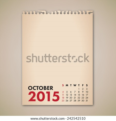 2015 October Old Note Paper Calendar Vector  - stock vector