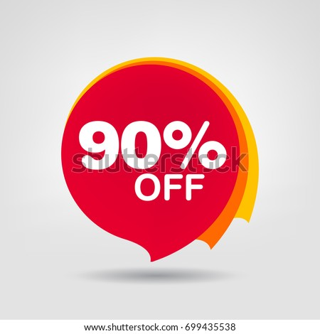 90% OFF Discount Sticker. Sale Red Tag Isolated Vector Illustration. Discount Offer Price Label, Vector Price Discount Symbol.