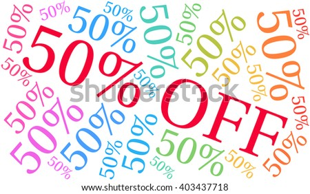 50% Off - Fifty Percent Off word cloud on a white background.