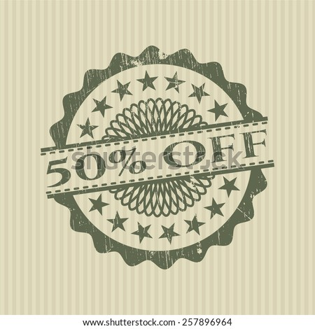 50% Off green rubber stamp - stock vector