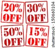 20 %, 30%, 15%, 50% off grunge rubber stamps over a white background, vector illustration - stock photo