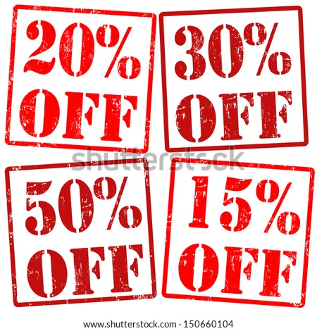 20 %, 30%, 15%, 50% off grunge rubber stamps over a white background, vector illustration - stock vector