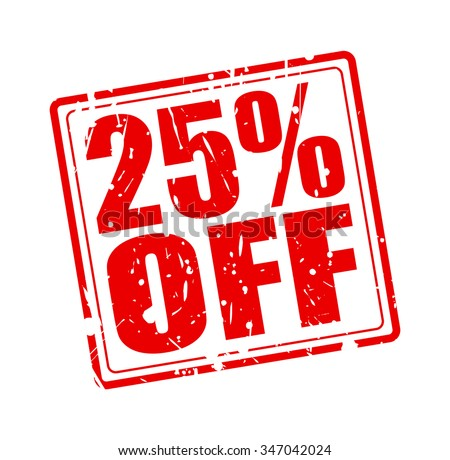 25% OFF red stamp text on white
