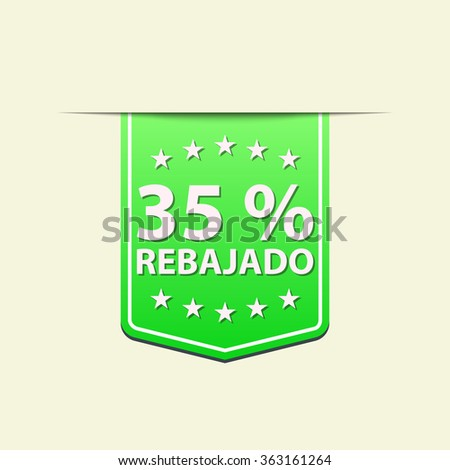 35% Off ribbon label. Green color. Spanish text. Vector illustration. Translation : (title) % Off
