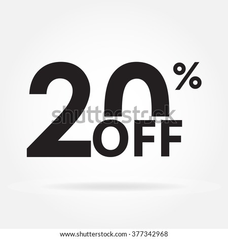20% off. Sale and discount price sign or icon. Sales design template. Shopping and low price symbol. Vector illustration. - stock vector