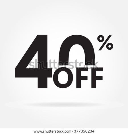 40% off. Sale and discount price sign or icon. Sales design template. Shopping and low price symbol. Vector illustration. - stock vector