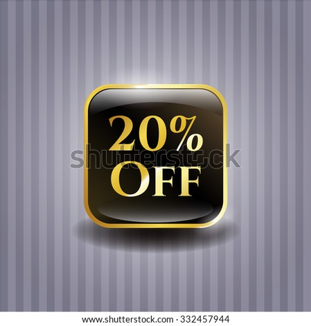 20% Off shiny badge - stock vector