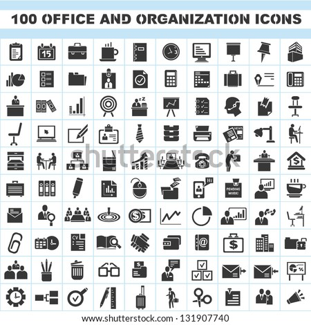 100 office and organization icons set - stock vector