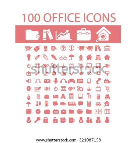 100 office, business icons - stock vector