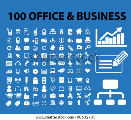 100 office & business icons, signs, vector - stock vector