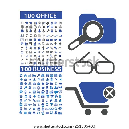 200 office, business, marketing, retail, ecommerce, management isolated design flat icons, signs, illustrations vector set on background - stock vector