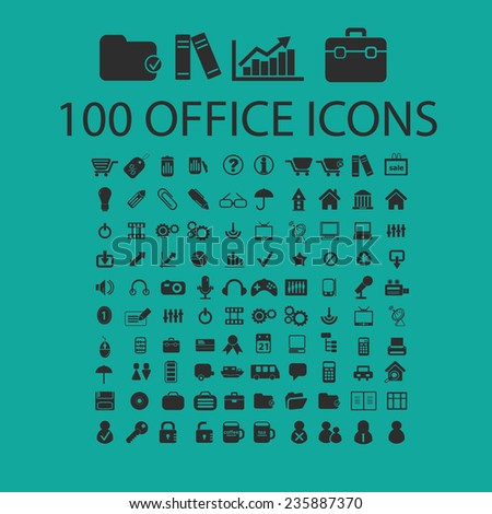 100 office, document, presentation, work icons, signs set, vector - stock vector