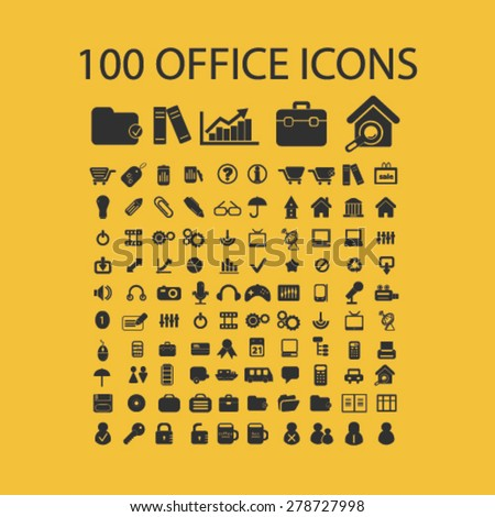 100 office, document, workplace icons, signs, illustrations set, vector - stock vector