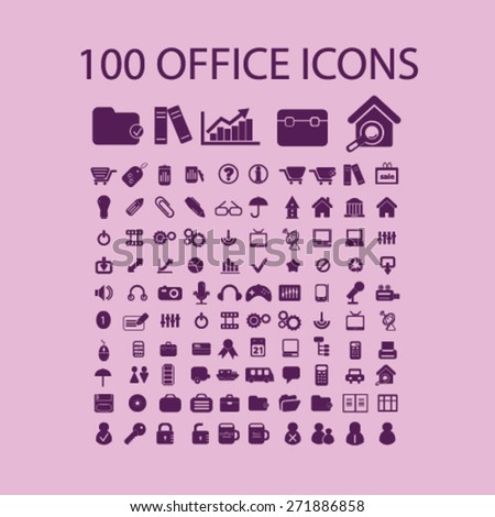 100 office, document, workplace, work, icons, signs, illustrations set, vector - stock vector