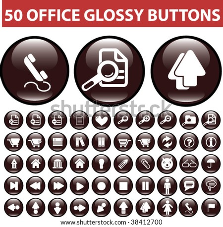 50 office glossy buttons.vector
