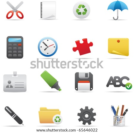 09 Office Icons Professional vector set for your website, application, or presentation. The graphics can easily be edited color individually and be scaled to any size - stock vector