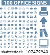 100 office icons set, vector - stock vector