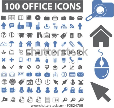 100 office icons set, vector illustrations - stock vector