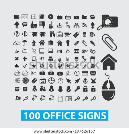 100 office icons, signs set, vector