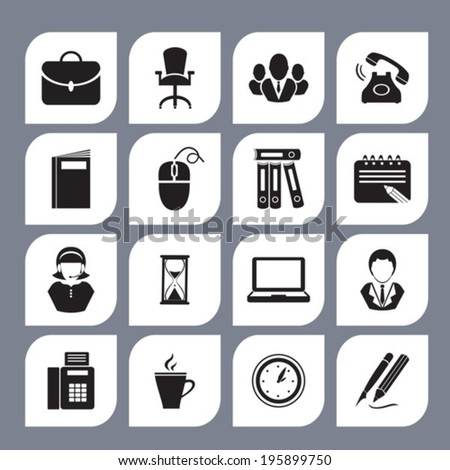 Office icons. Vector. EPS-10 (non transparent elements, non gradient). - stock vector