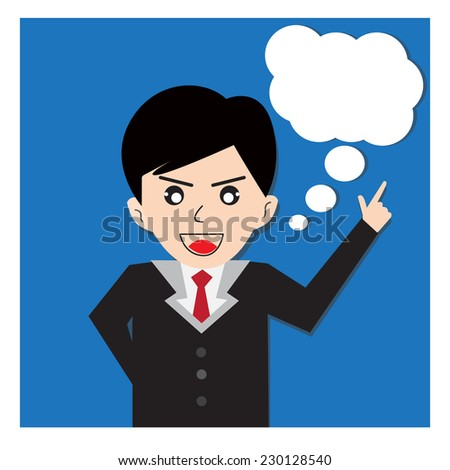 Office man standing with dialog speech bubbles  - vector