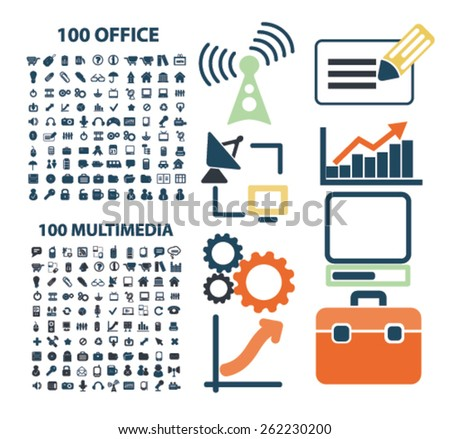 200 office, multimedia, management, media, communication icons, signs, illustrations concept design set on background, vector - stock vector