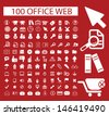 100 office web icons set, vector - stock vector