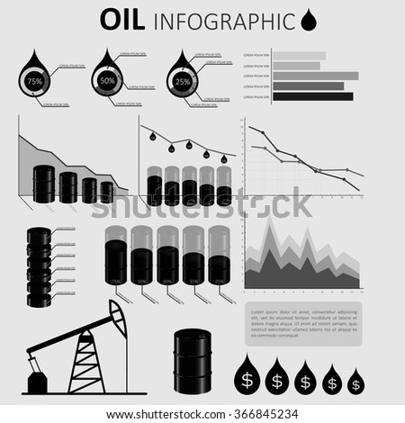 Oil Industry Infographic Elements, with charts, diagram and graphs of global petroleum,oil production - stock vector