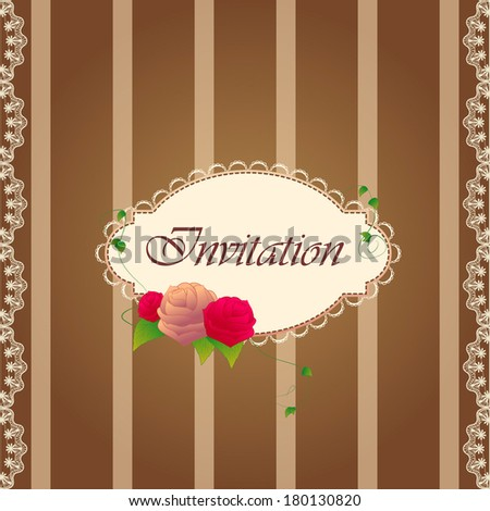 Old-fashioned fancy invitation card with striped background, lace and roses - stock vector