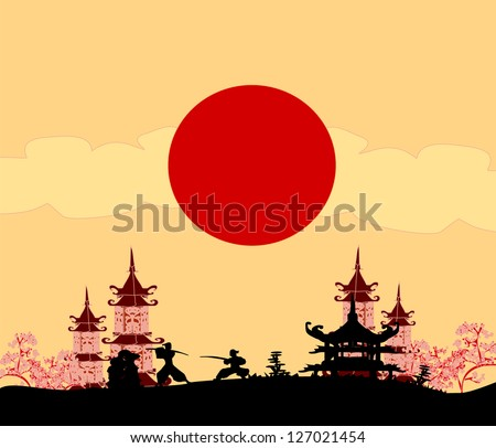 old paper with Samurai silhouette - stock vector