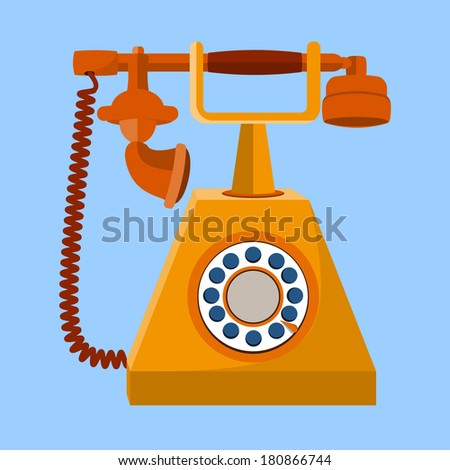 Old Telephone flat icon  - stock vector