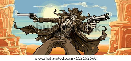 Old West Gunslinger: Canyon Pass Version Vector illustration of an old west undead skeleton gunslinger shooting two revolvers in front of a scenic desert - canyon background. - stock vector